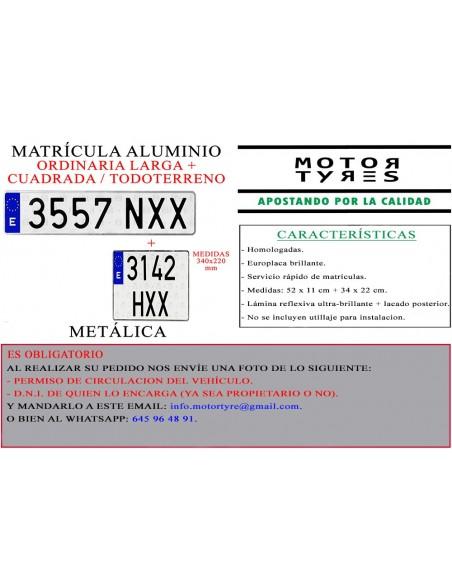 matricula aluminio todoterreno 4x4
