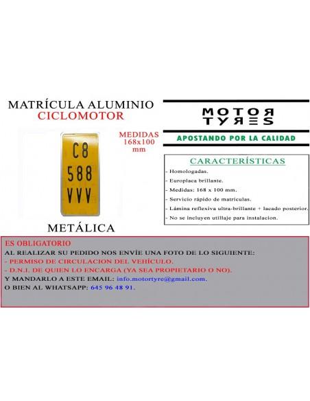 matricula aluminio ciclomotor metalica