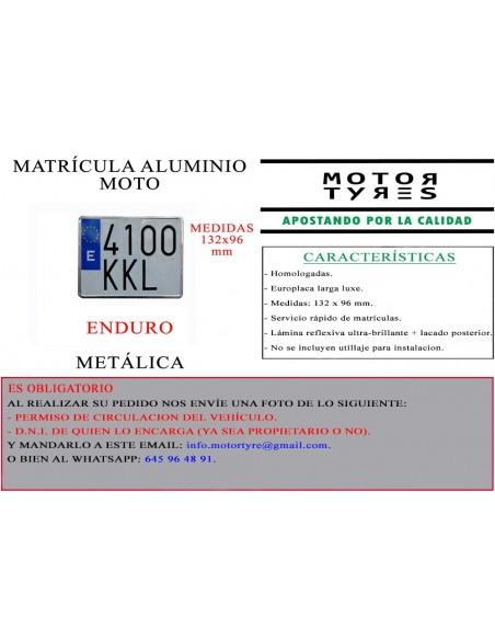 matricula aluminio enduro metalica