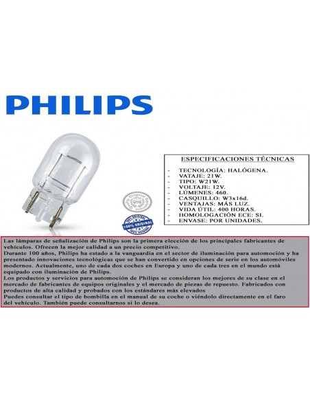 lampara bombilla philips w21w