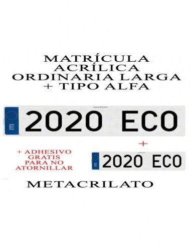 matricula metacrilato alfa acrilica