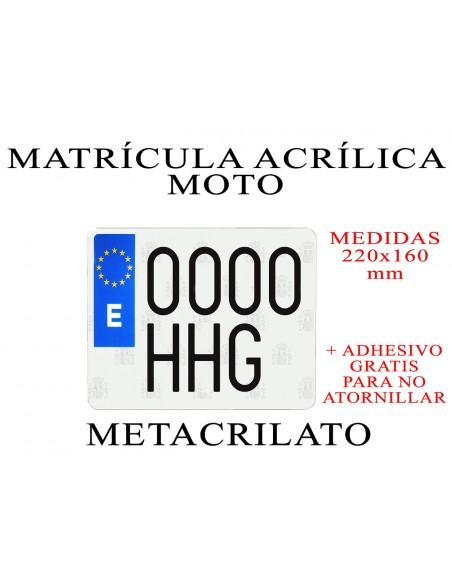 matricula metacrilato moto acrilica