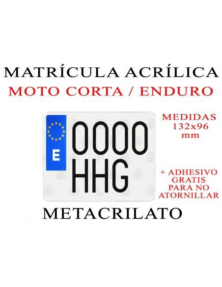 matricula metacrilato moto enduro