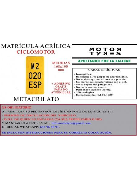 matricula metacrilato ciclomotor acrilica