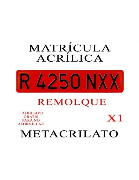 matricula metacrilato remolque roja