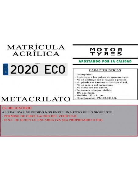 matricula acrilica coche metacrilato